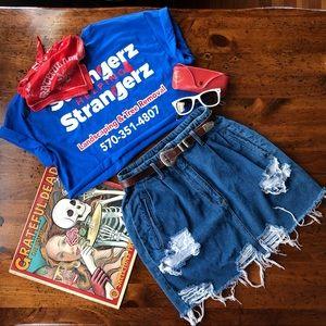 Vintage Custom Distressed Denim Jean Skirt